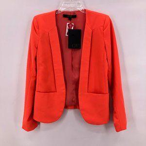 NWT-OVI orange collarless open front blazer